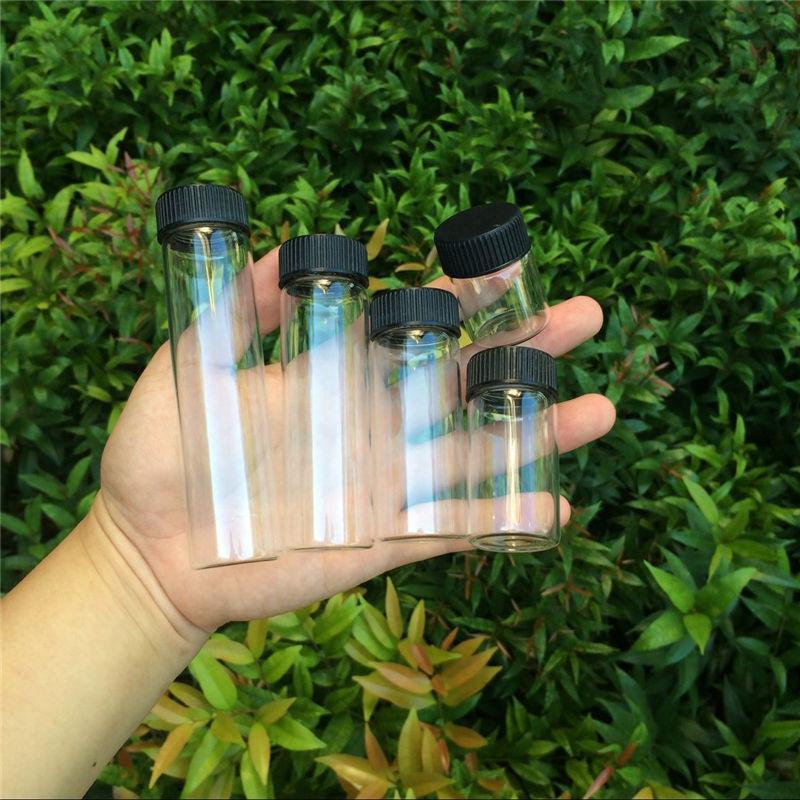 15ml 25ml 40ml 50ml 60ml Glass Bottles Plastic Cap Black Screw Transparent Glass Vials Plastic Bottles Jars Bottles1