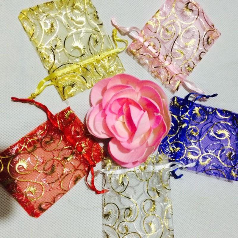 7*9 cm 50pcs Organza bags Wedding Gift bag Jewelry Candy Bag wedding souvenir wedding christmas decoration 7*9 cm