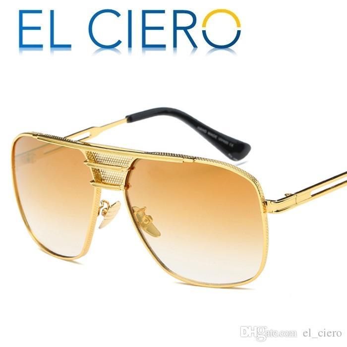 EL CIERO Occhiali da sole in metallo spazzolato di alta qualità per uomo donna 2017 marca classico quadrato occhiali da sole unisex moda sfumature protezione uv400