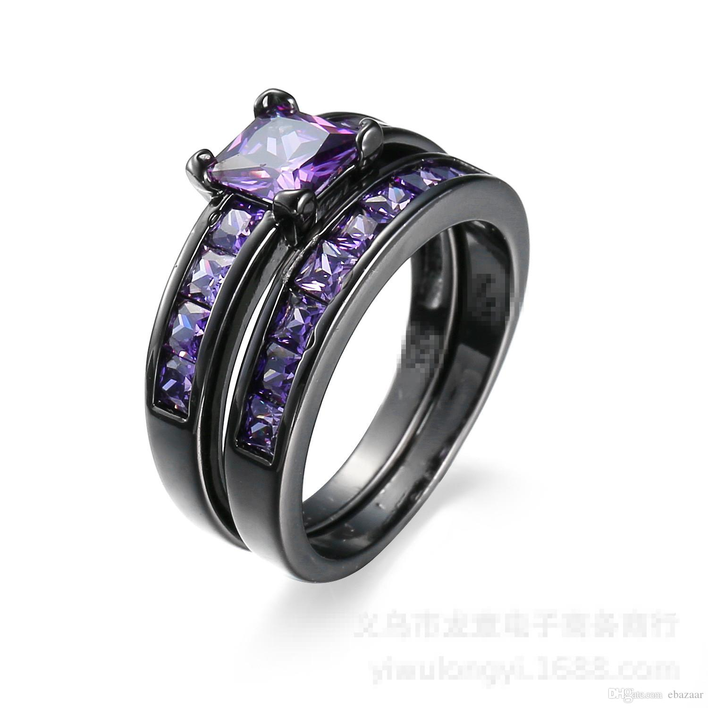 HOT Purple Zircon Black Gold Plated Lover Engagement Wedding Ring Set Sz6-10
