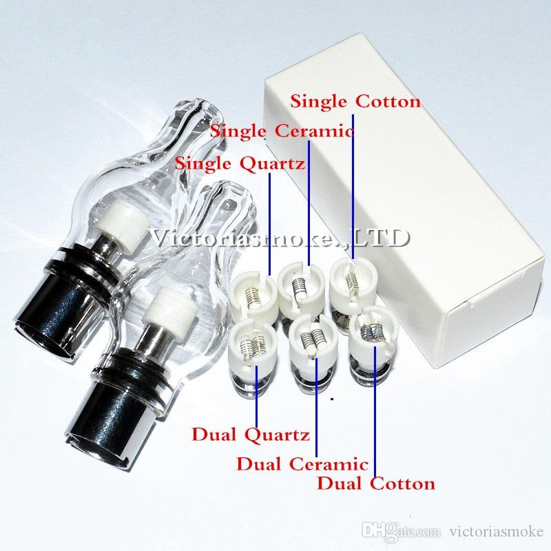 Hot Selling Glass Globe Atomizer Dry Herb Vaporizer Replacement Wax Vapor Tank with Dual Quartz Ceramic Cotton Coil Head for EGO T Evod