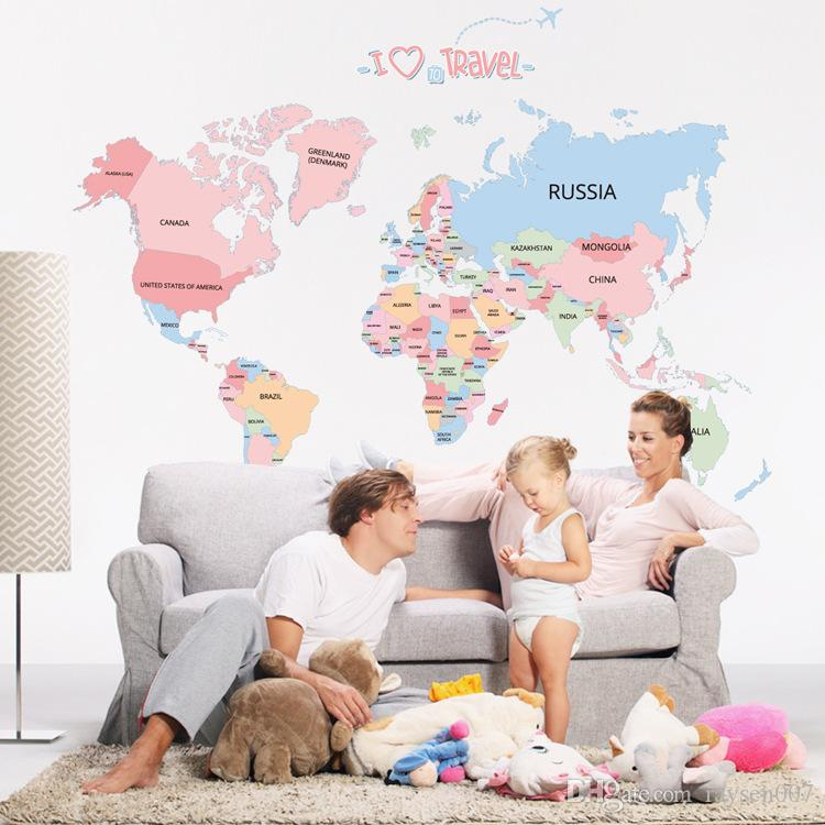 Hot sale world map wall stickers colorful letter world map wallpaper hot sale world map wall stickers colorful letter world map wallpaper kids room world map mural gumiabroncs Gallery