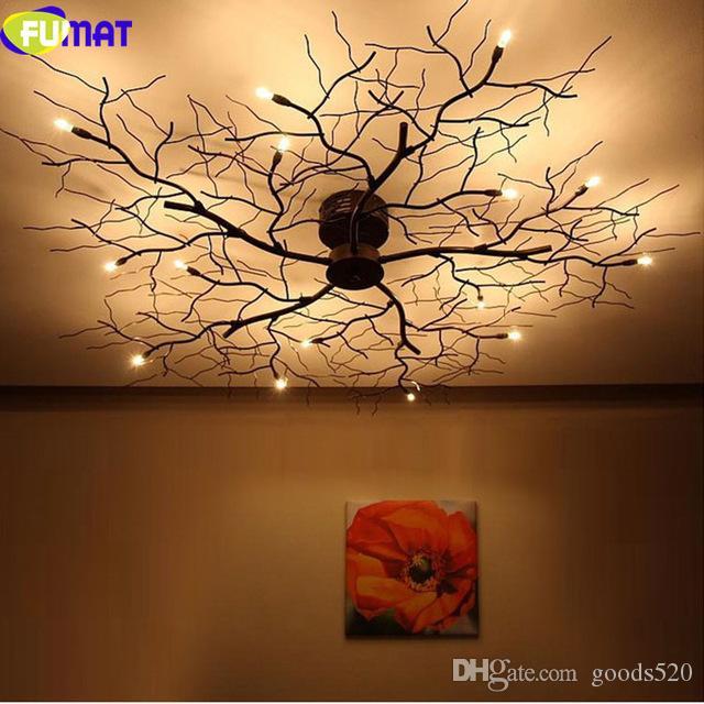 FUMAT Modern Branch Chandelier Globe Creative Black Metal Twig Ceiling Lamp Office Living Room Light G4 LED Dia100cm