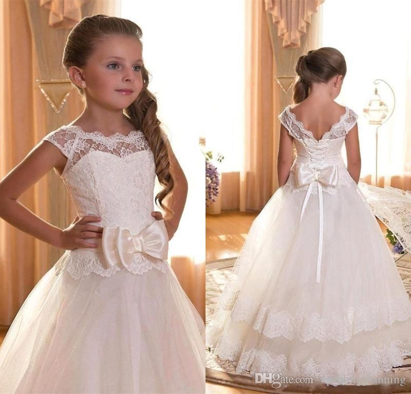 Flower Girl First Communion Dresses Scoop Backless With Appliques and BowTulle Ball Gown Pageant Dress For Little Girls