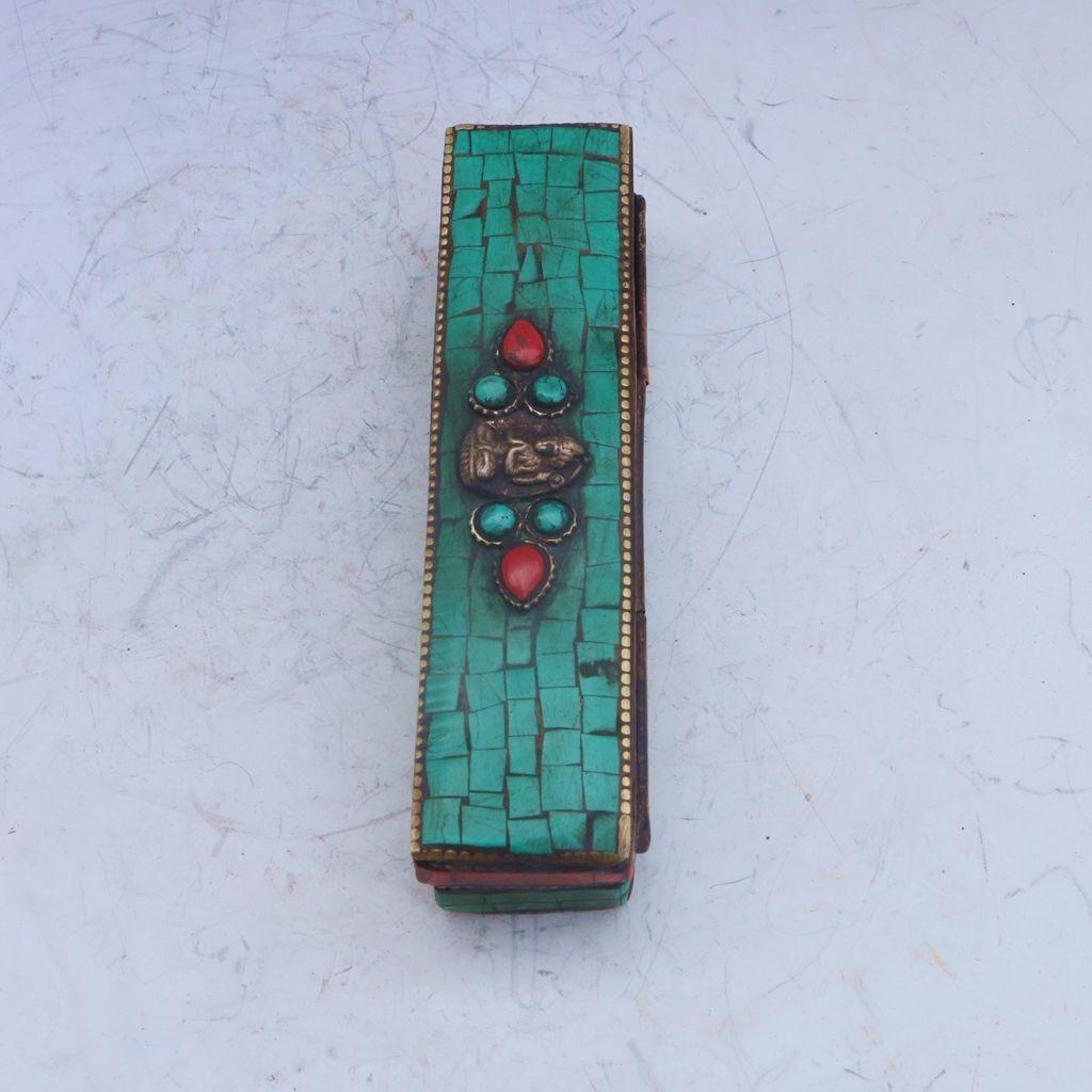 Box Old chinese Tibet Buddhist Turquoise Dorje Phurpa Pestle Vajra statue
