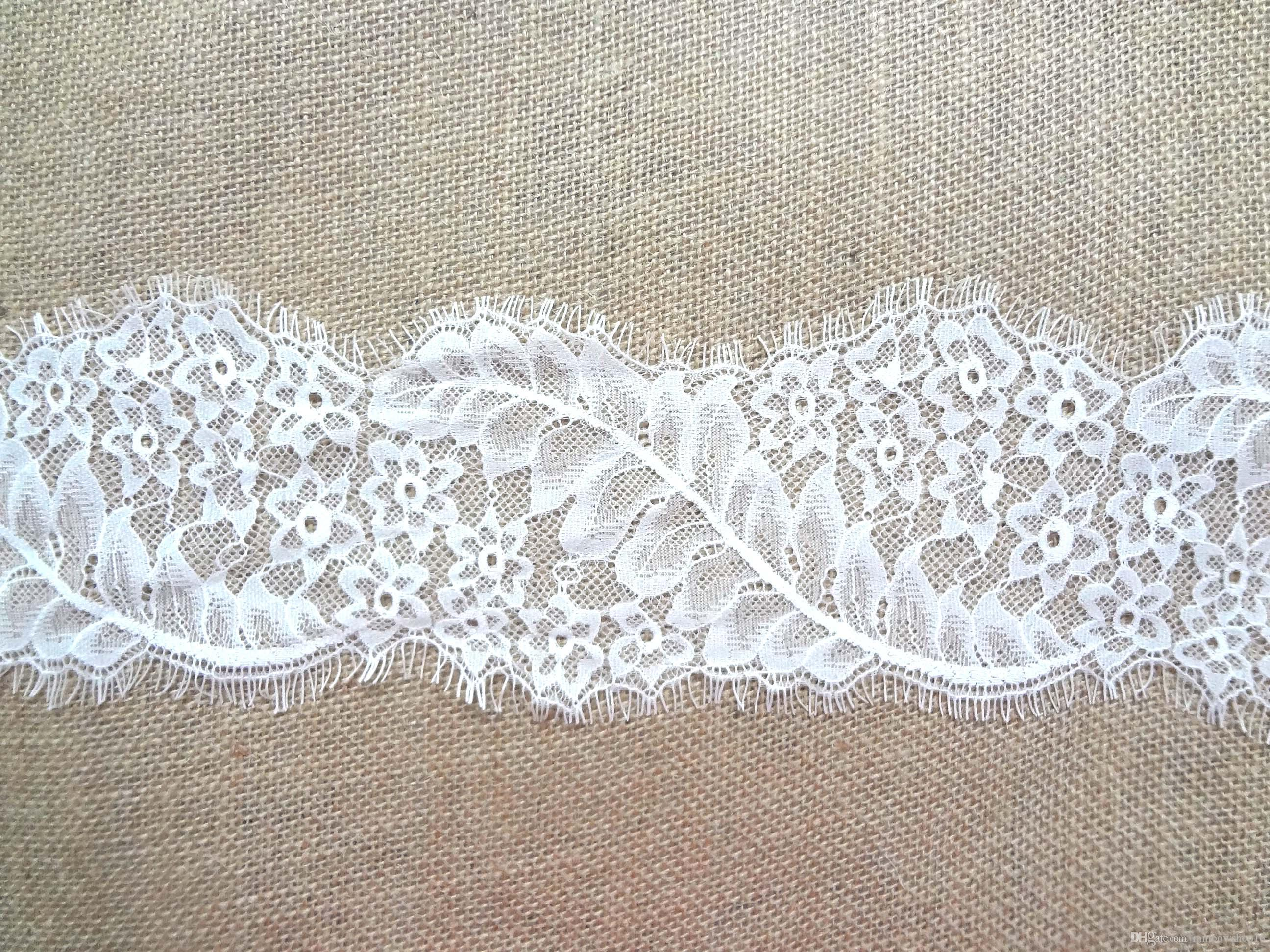Lace Fabric Trims Jacquard Polyester Guipure Home Textiles Decor Ribbon Sewing Party DIY Clothing Apparel Accessories Floral WHITE 11*300cm