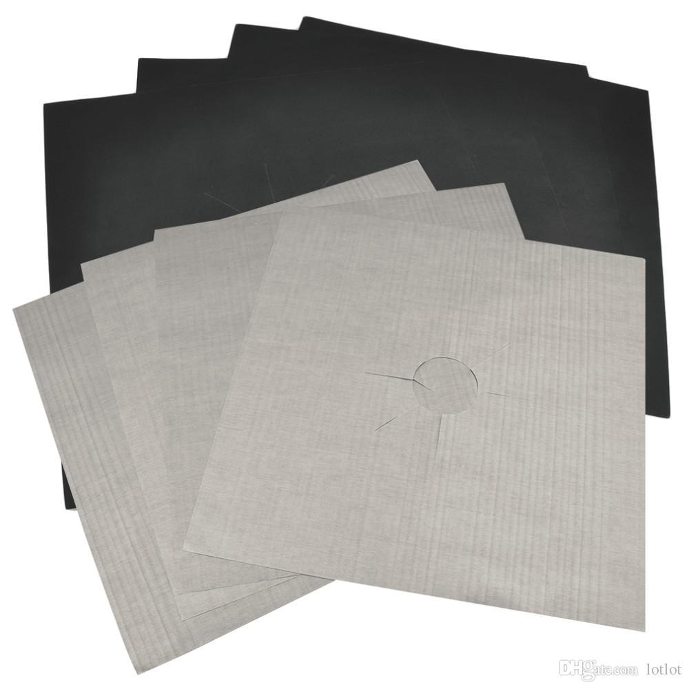 Protecteurs de cuisinière à gaz en papier d'aluminium réutilisables 4pcs / lot Couverture / Doublure Réutilisables en silicone antiadhésif allant au lave-vaisselle