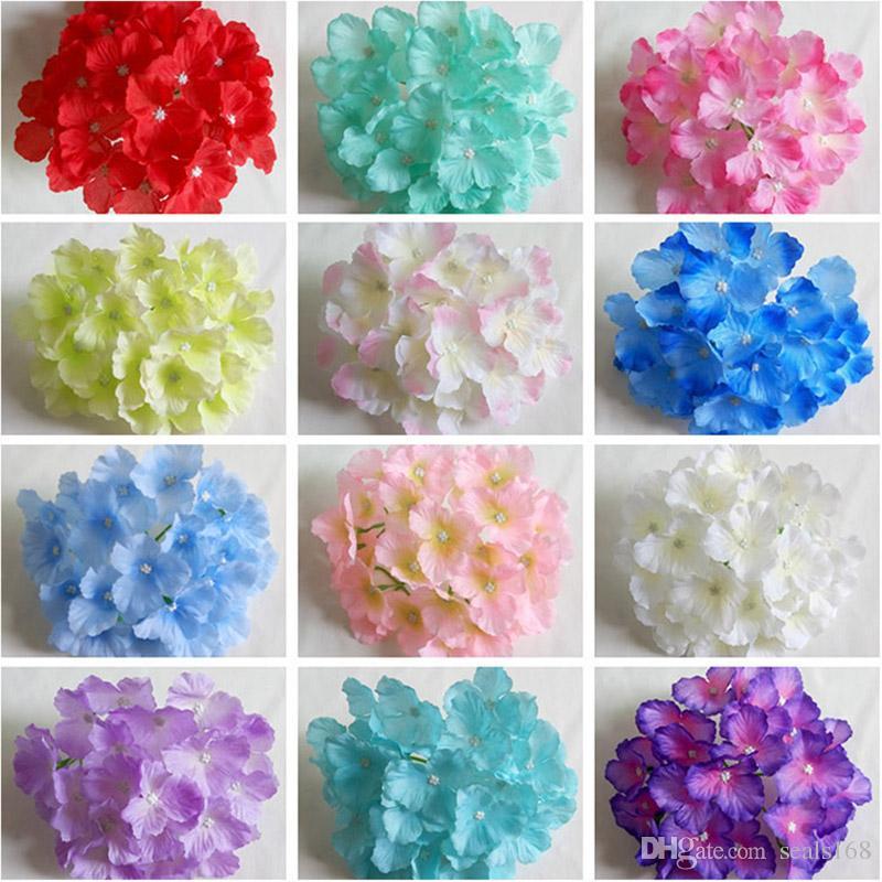 새로운 인공 꽃 수국 꽃 머리 웨딩 파티 장식 시뮬레이션 가짜 꽃 머리 홈 장식 HH7-165 용품