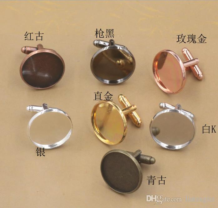 Free Shipping Antique Bronze Plated cufflinks Blank with round bezel setting match 12mm cabochon Wholesale