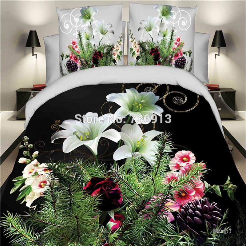 Wholesale- 3D Bedclothes Multifarious Flower 4pcs Bedding Sets King Or Queen Fast Shipping