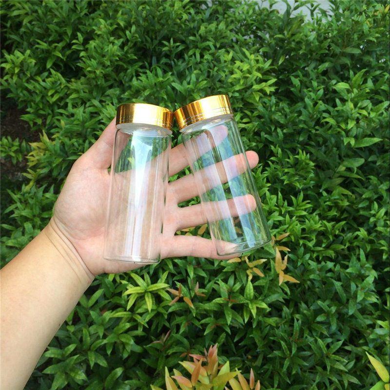 150ml Large Glass Bottles Glod Screw Cap Glass Bottles For Sand Candy Gift Jars Eco-Friendly