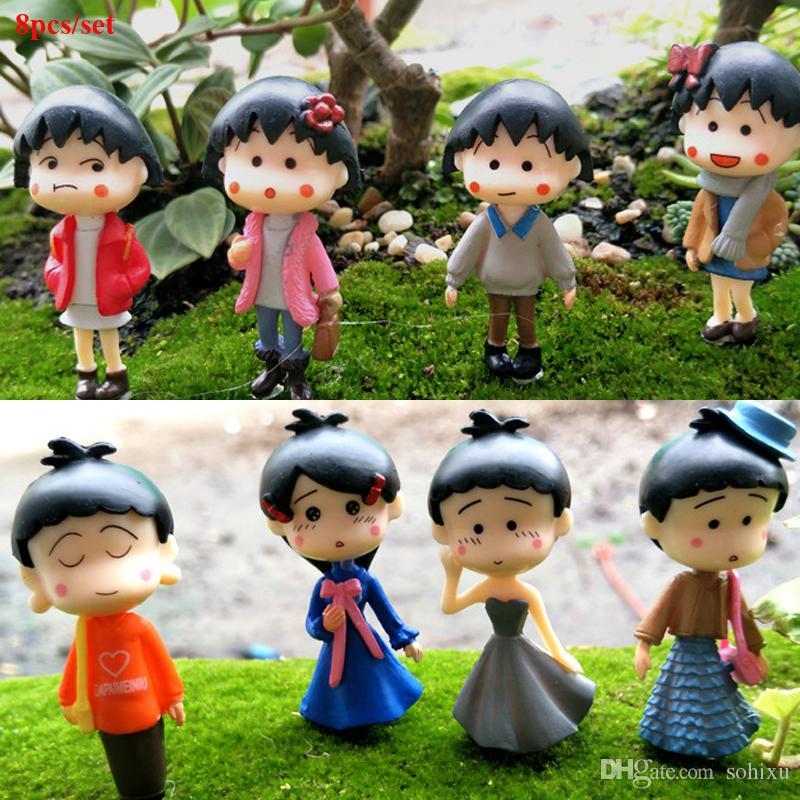 8pcs Cartoon Anime Maruko Figures Fairy Garden Miniatures Bonsai Tools Terrarium Dollhouse Toys Zakka Home Decor Accessories Jardin Gnomes