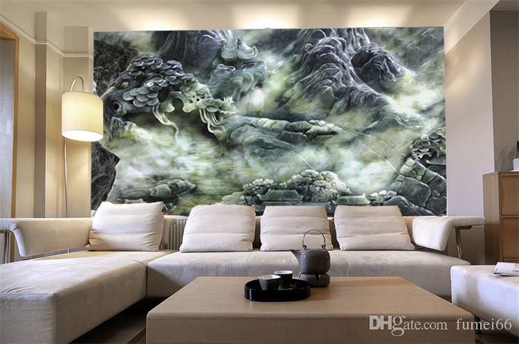 ... 3d Large Scale Chinese Style Large Scale Murals Living Room Jade Wallpaper  Wall Part 87