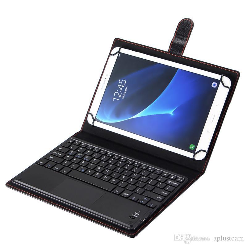 حار بيع اللاسلكية بلوتوث 3.0 لوحة المفاتيح جلدية القضية القابلة للإزالة مع لوحة اللمس للكمبيوتر اللوحي أبل الروبوت 7 9 10 بوصة دعم 3 النظام