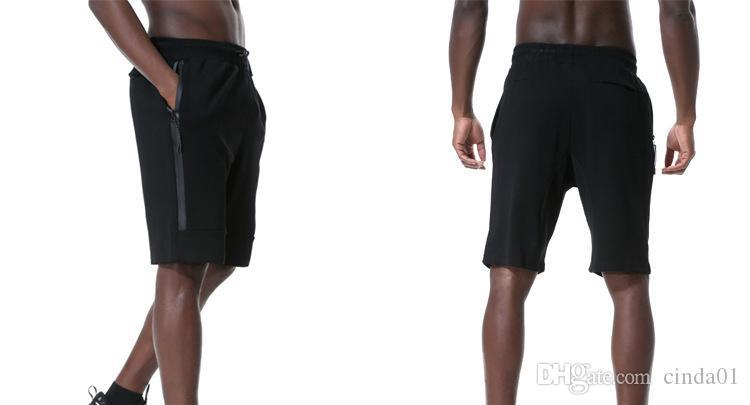 Velo Esporte Shorts Zipper bolso da calça Sport calças casuais Cinzento Preto S-XL