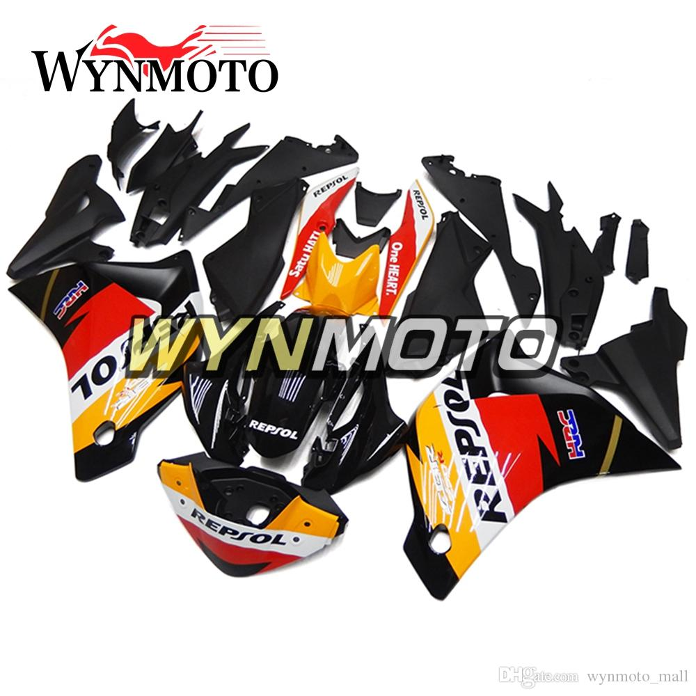 Coberturas completas ABS Injeção Repsol Preto Laranja Vermelho Novas Carenagens Para Honda CBR250RR 2011 2012 2013 2014 Ano Carenagem Completa Kit Carroçaria