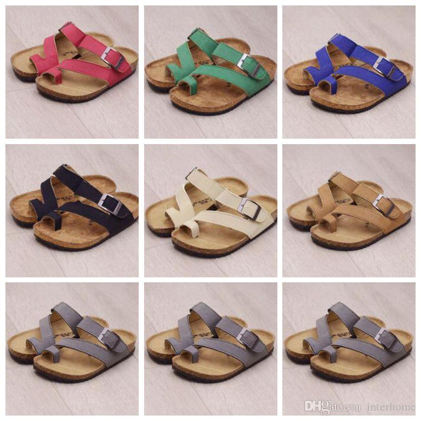 Kids Flip-flops Sandals Brand Cork Sandles Beach Antiskid Slippers PU Leather Slipper Cool Slippers Fashion Summer Sandalias Footwear B1940
