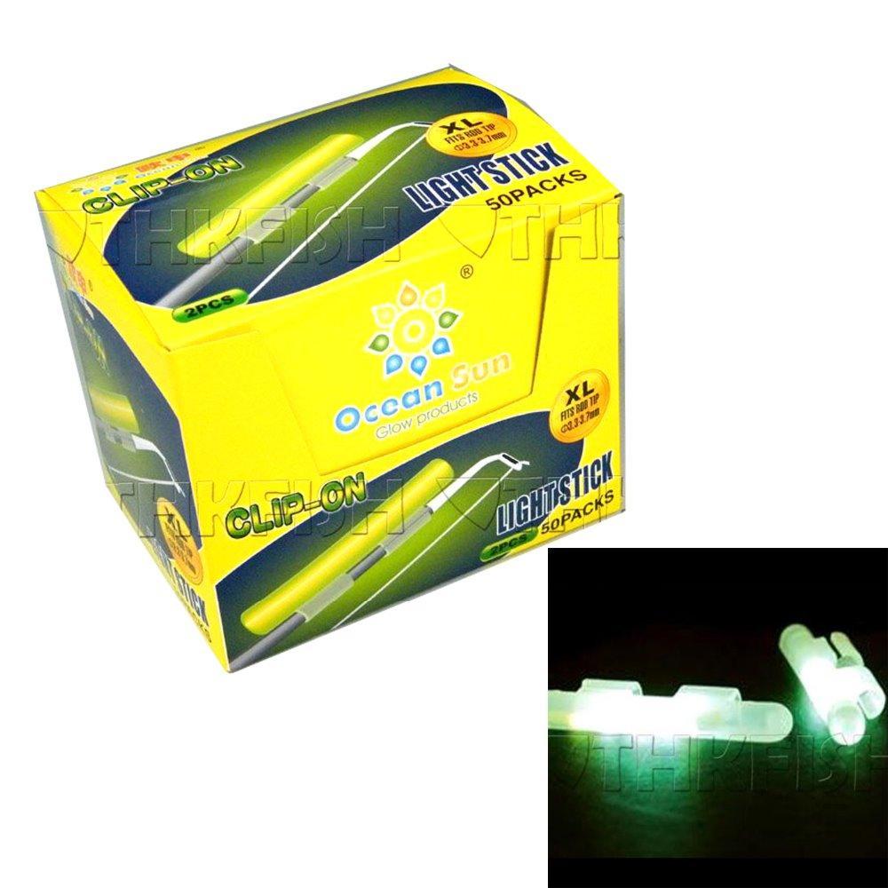 Оптово-100шт Свечи накаливания Ночная рыбалка Светящийся поплавок Флуоресцентный светящийся зажим для палки на сухом типе Оснастка на удочке Размер XL 3.3-3.7 мм