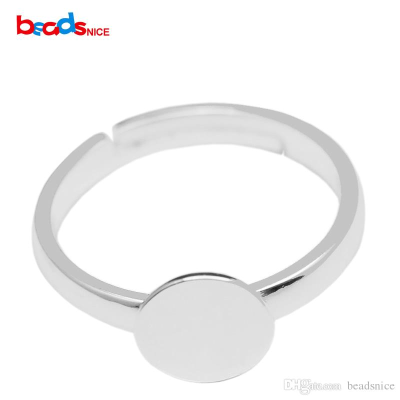 925 Sterling Silver Ring Blank with Silver Ring Base with 8mm / 12mm Glue Pad on Adjustable Ring for DIY ID16697