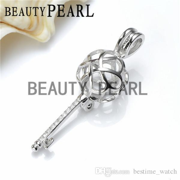 HOPEARL Jewelry Locket Knot Key Cage Love Wish Pearl 925 Sterling Silver Key Cage Pendant 3 Pieces
