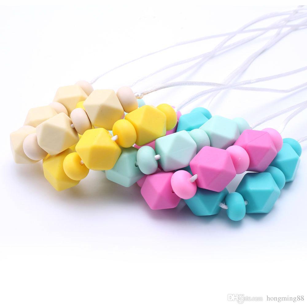 Популярные 100% BPA бесплатно пищевой DIY силиконовые детские жевать бусины прорезывания зубов ожерелье уход ювелирные изделия успокоить прорезыватель для мамы, чтобы носить
