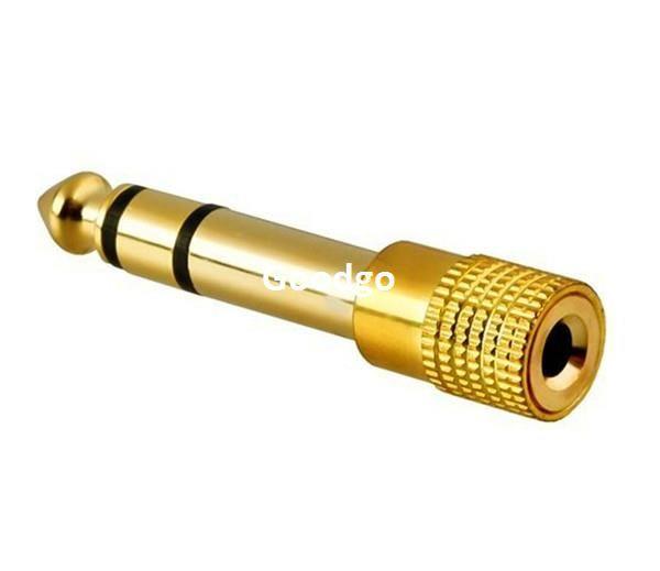 50 pçs / lote 6.5mm 1/4 macho para 3.5mm 1/8 feminino banhado a ouro fone de ouvido estéreo de áudio jack adaptador plugue do fone de ouvido