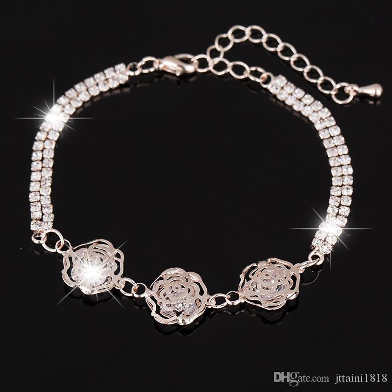 2017 Handmade europeo americano braccialetti di fascino braccialetti rosa gole cristallo placcato braccialetti per i monili delle donne I gioielli sposa