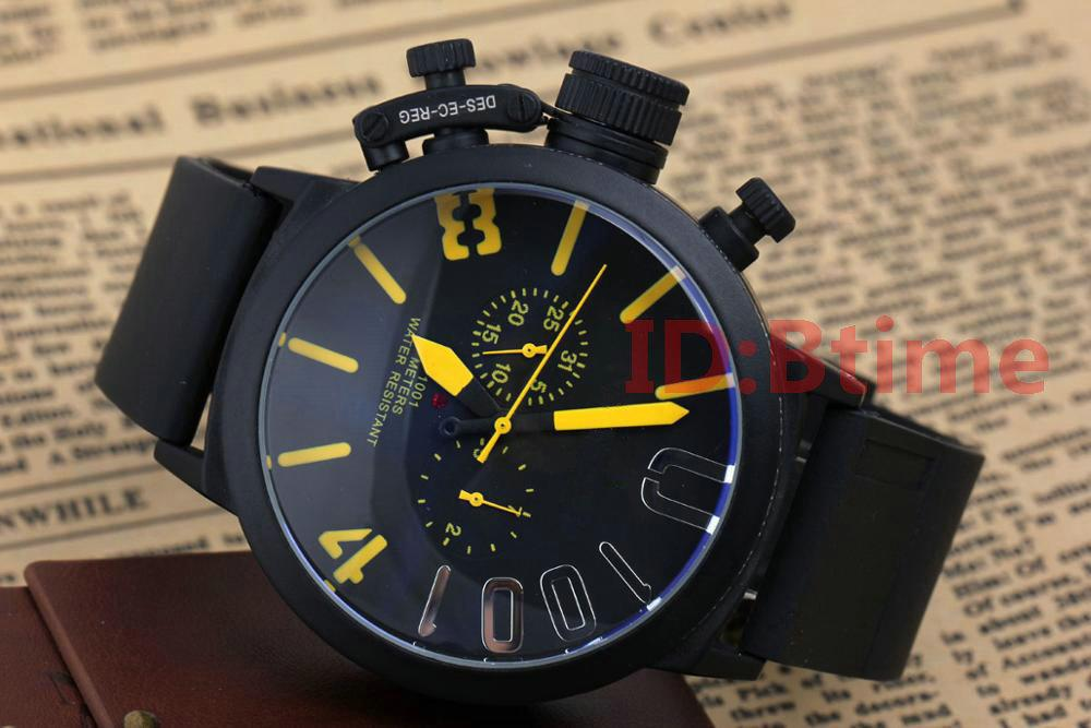 Black Case Mens watch Sports 50mm Big Boat Silver Black Rubber Classic Round Automatic Movement Mechanical Left Hand Watches Wristwatches