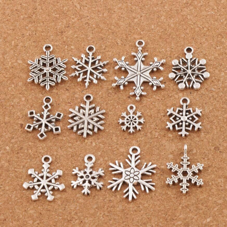 Christmas MIXED Snowflake Charms 120pcs/lot Antique Silver Pendants Jewelry DIY L770 L738 L1607 L742 Fit Bracelets Necklaces LM38