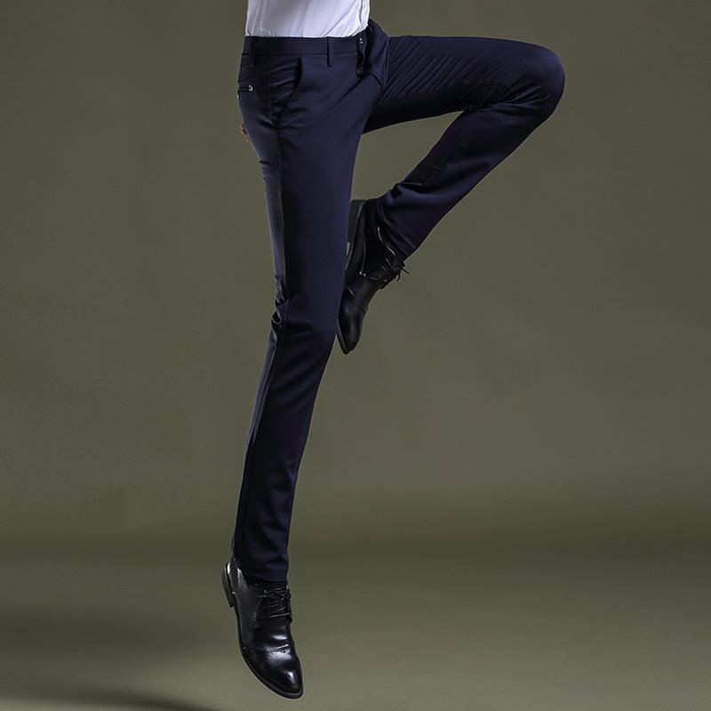 الجملة-جديد الرجال بنطلون تجريب السراويل تمتد تصميم العلامة التجارية كامل فستان طويل بانت الذكور ملابس العمل الشركة الكورية الأزرق الداكن السراويل 430