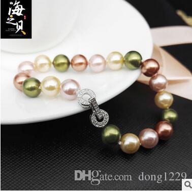 Halloween Perla naturale braccialetto di perle in argento 925 fibbia mista mano mano mano stringa 10mm