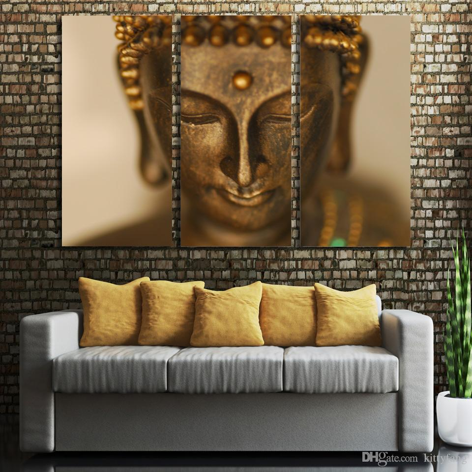 3 Pcs/Set Framed HD Printed Golden statue Painting Canvas Print room decor print poster picture canvas Free shipping/NY-6817C