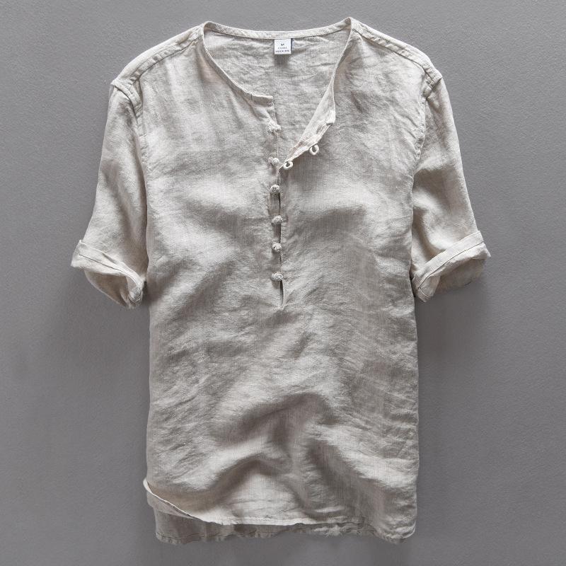 semplici all'ingrosso nuovi uomini della camicia di lino casuale della camicia uomini di modo di lino solido estate traspirante camicia da uomo abbigliamento Camisa Masculina