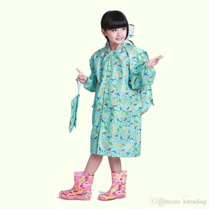 Los niños lindos de dibujos animados de impresión mochila escolar Chicos Niños niñas con capucha impermeable chidlren dinosaurio muñecas elefante gatos patrones rainwear para 1-13T
