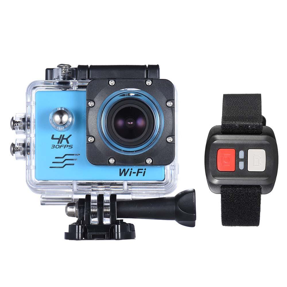 15PCS 4K كاميرا 2 شاشة LCD كاميرا واي فاي كاميرا العمل 4X تكبير 16MP الرياضة للماء 30M مع جهاز التحكم عن بعد متعدد الألوان