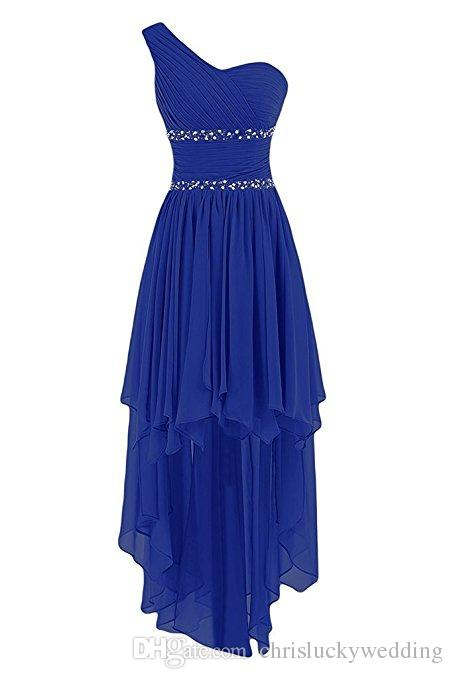 Cheap Chiffon Short Bridesmaid Dresses Beads Sequins High Low One-Shoulder Prom Dresses Bridesmaid Wedding Guest Party Dress Plus Size Gowns
