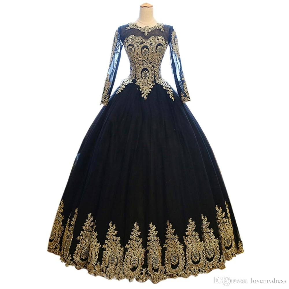 Sexy zwart met gouden applique trouwjurk baljurken goedkoop met illusie lange mouwen corset back sweep trein tule bruiloft bruidsjurken
