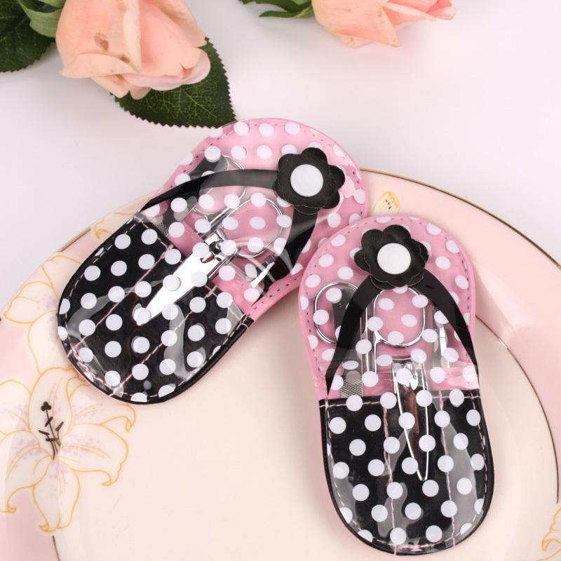 400pcs=100SET/Lot+Flip Flop Design Manicure Set Beauty Sets Bridal&Wedding Shower Favors and Gift For Guest