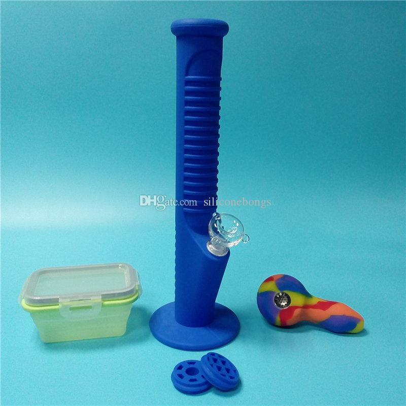 Blue Silicone Water Pipes with Colorful Mini Silicone Bongs with Big Silicone Wax Containers Free Shipping