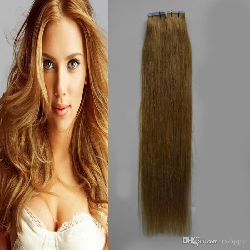 Brazilian virgin hair honey blonde Pu Skin Weft Hair Extensions 40 pcs Adhesives 100g tape in human hair extensions