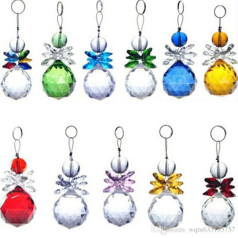 5PCS K9 Crystal Ball Pendant Rainbow Suncatcher Prisms Pendants Handmade Hanging Pendants Home Decoration 30mm W046-30mm