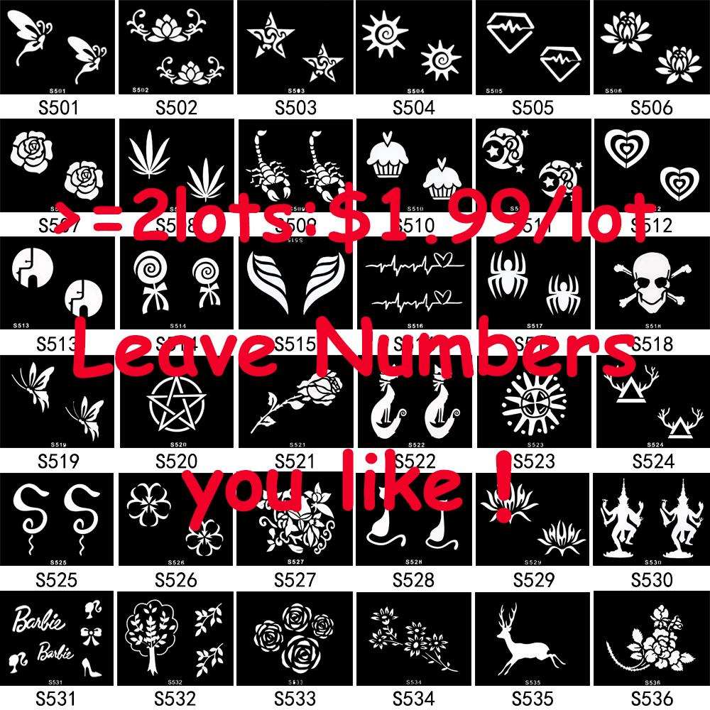 Wholesale-5 Pieces/lot Small Henna Body Stencil Beauty 72 Designs ...