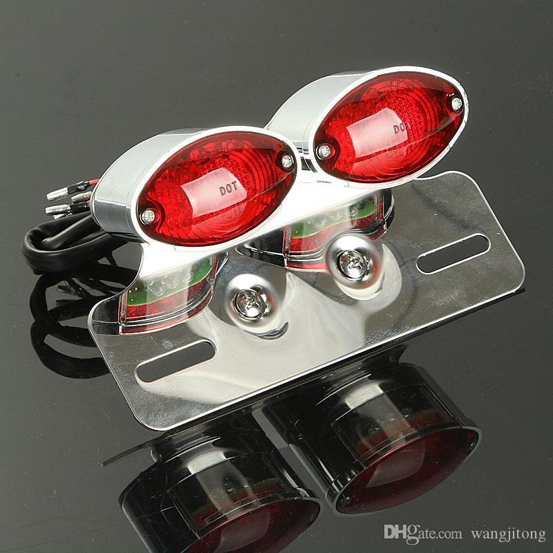 Motorcycle Tail Lights Lamp Dual Cat Eye Custom License Plate Holder Rear Motocross Brake Light Taillight Turn Signal Lights