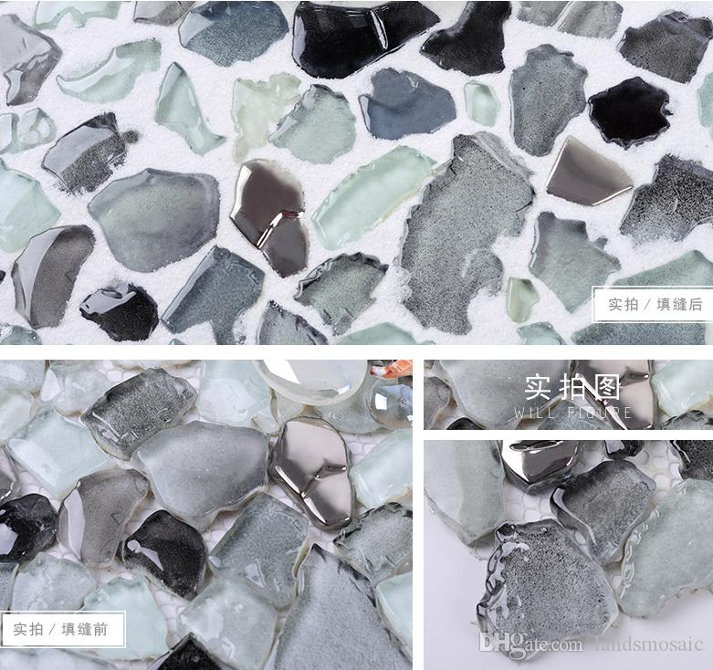 2017 2017 new!! irregular glass mosaic tiles, gradient gray glossy