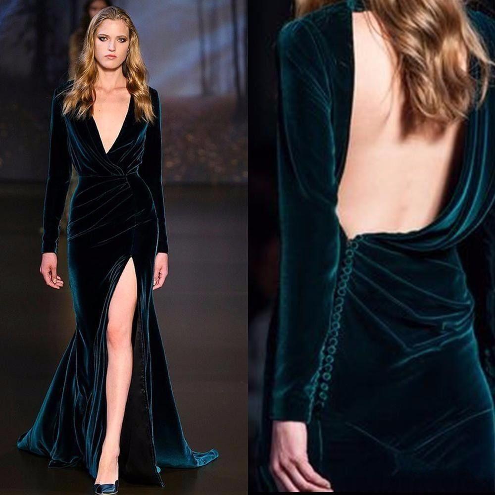 2017 Nueva Sexy Vestidos de noche sin respaldo de manga larga de terciopelo sirena de alta raja Elie Saab Occasion Wear Celebrity Prom Vestidos