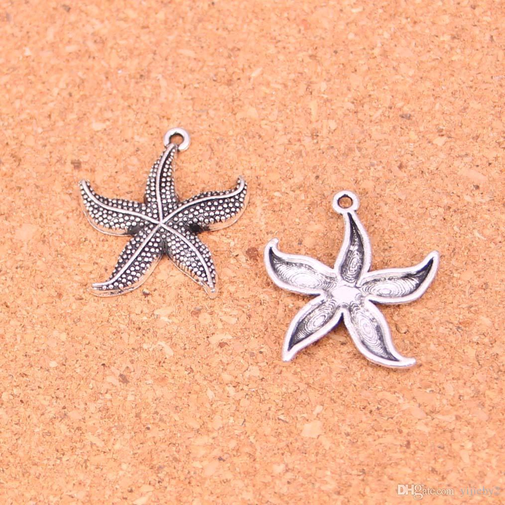 68 pcs de Prata Antigo Banhado A estrela do mar Encantos Pingentes para Europeus Pulseira Jóias Fazendo DIY Handmade 24mm