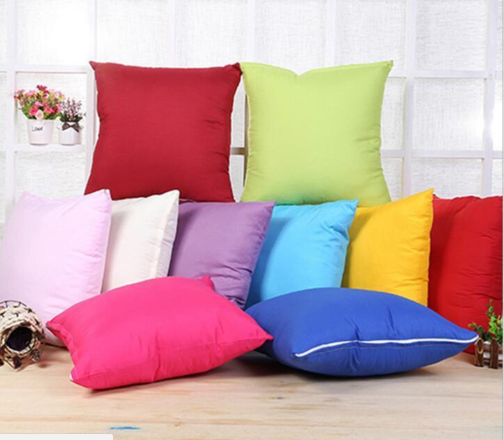 Home Sofa Throw Pillowcase Pure Color Polyester White Pillow Cover