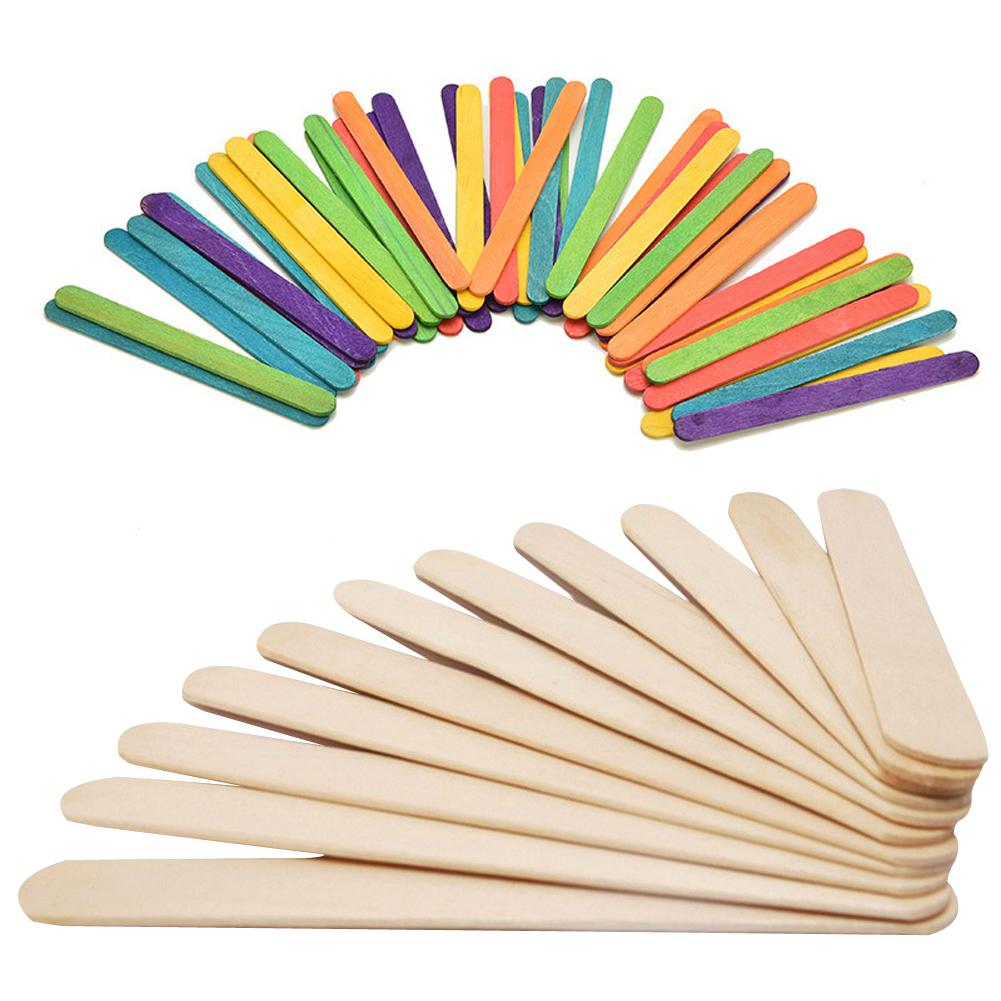 50Pcs/Lot Ice Cream Stick Wooden Popsicle Stick Kids Hand Crafts Art Ice Cream Cake DIY Making Funny