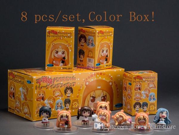 free shipping 8 pcs/set Anime Sankaku Head Himouto! Umaru-chan Doma Umaru pvc figure Toys Best Kids Phone Accessories