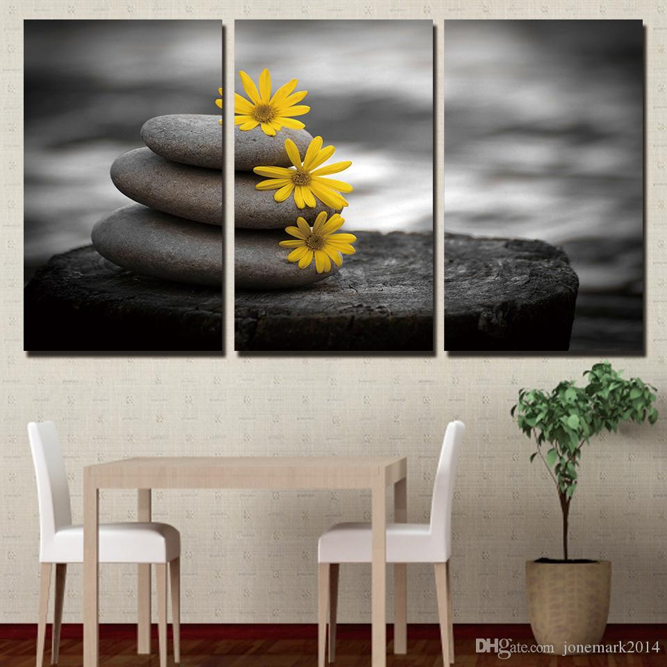 3 Pieces Stones Flowers Peaceful Wall Art Canvas Pictures For Living Room Bedroom Home Decor Printed Canvas Paintings